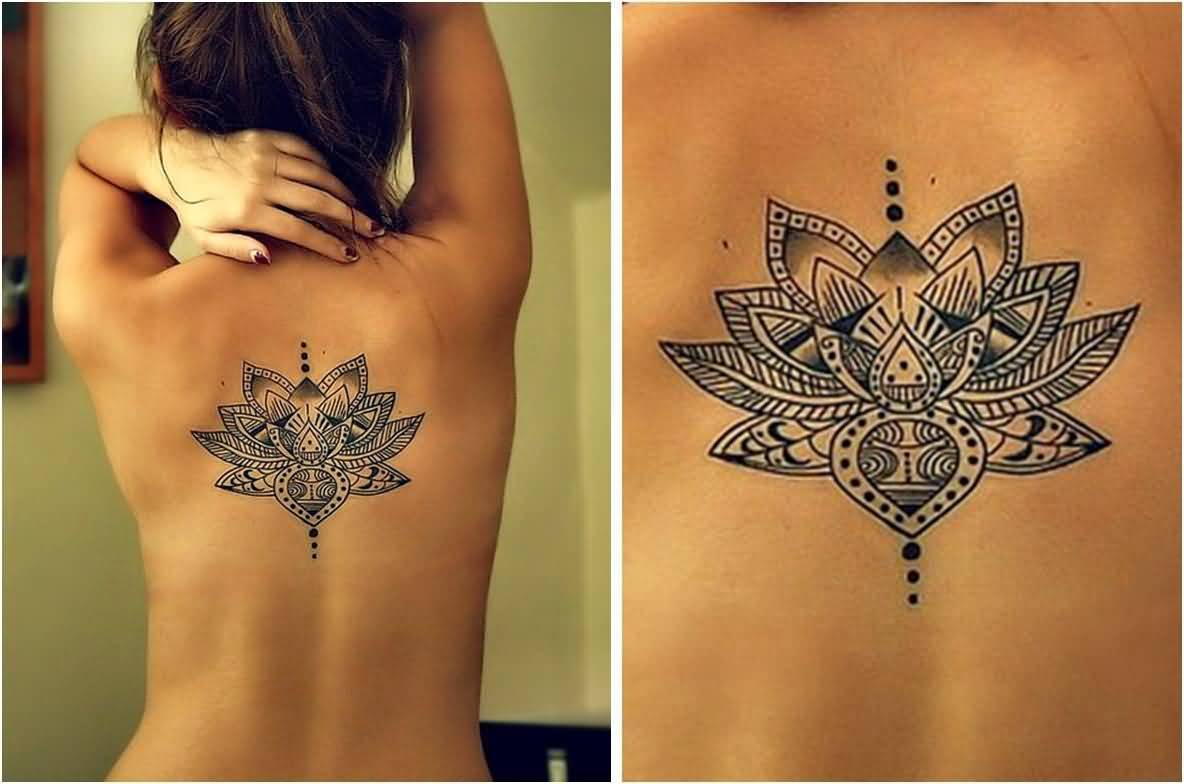 New Design Of Lotus Flower Tattoo On Back