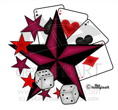 New Dice Pair Nautical Star And Playing Card Tattoo Designs