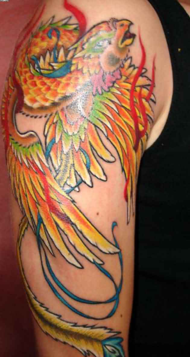 New Fire Bird Phoenix Tattoo On Arm