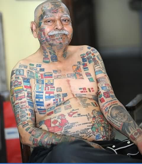New Flag Tattoos On Old People