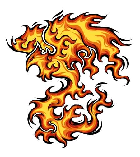 New Flaming Phoenix Tattoo Stencil
