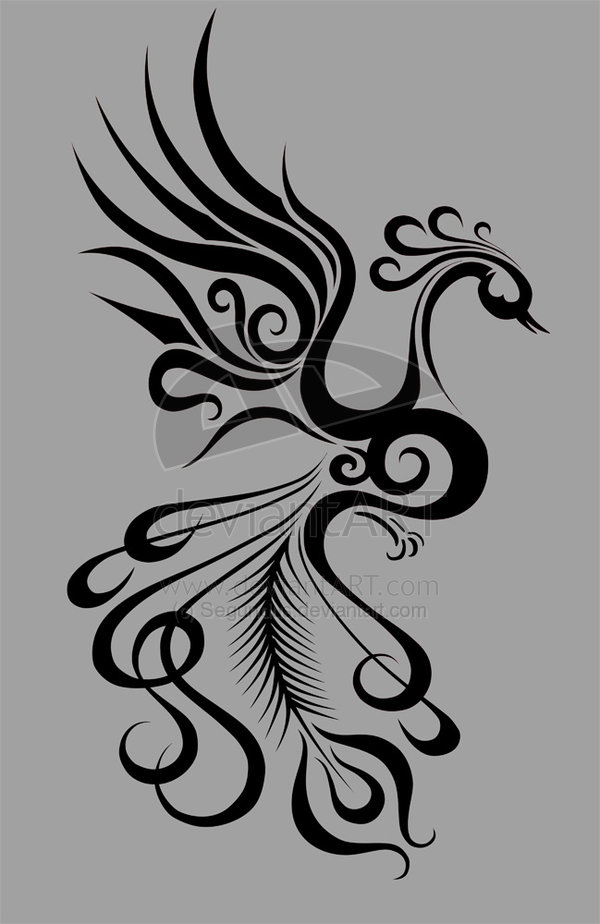 New Girly Phoenix Tattoo Design