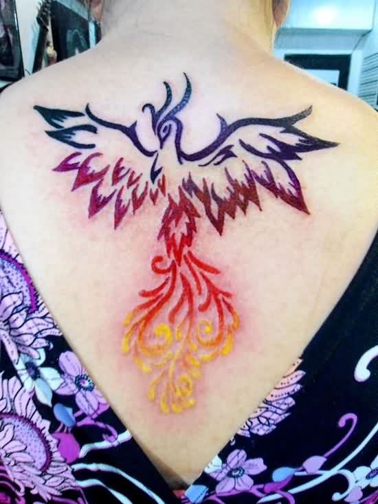 New Gorgeous Phoenix Tattoo On Upperback