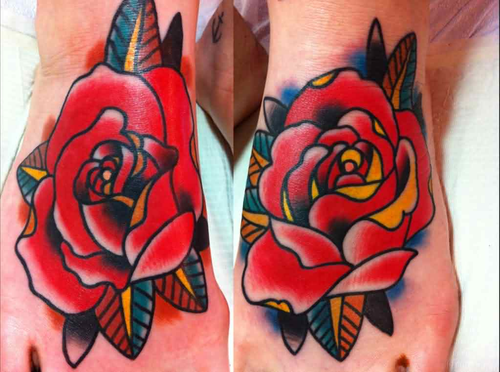 New Gorgeous Rose Tattoos On Feet