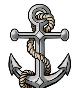 New Grey Anchor With Rope Tattoo Stencil