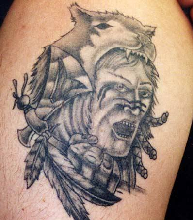 New Grey Native American Wolf Man Tattoo