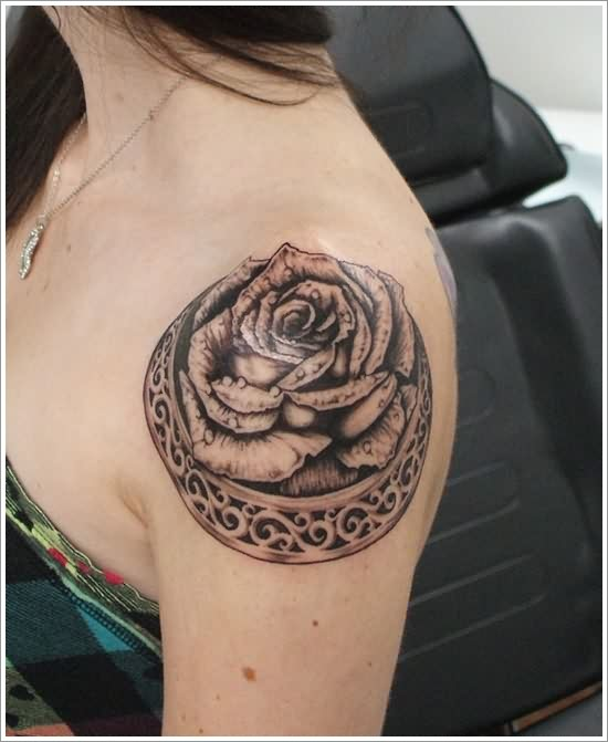 New Grey Rose Celtic Tattoo On Shoulder