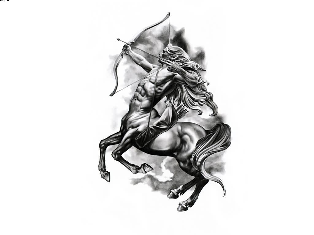 New Grey Sagittarius Zodiac Sign Tattoo Design