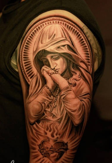 New Ink Madonna And Sacred Heart Tattoos On Arm