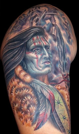 New Ink Native American Warrior Tattoo For Men