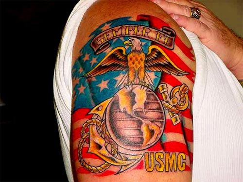 New Ink USMC Patriotic Tattoos On Biceps