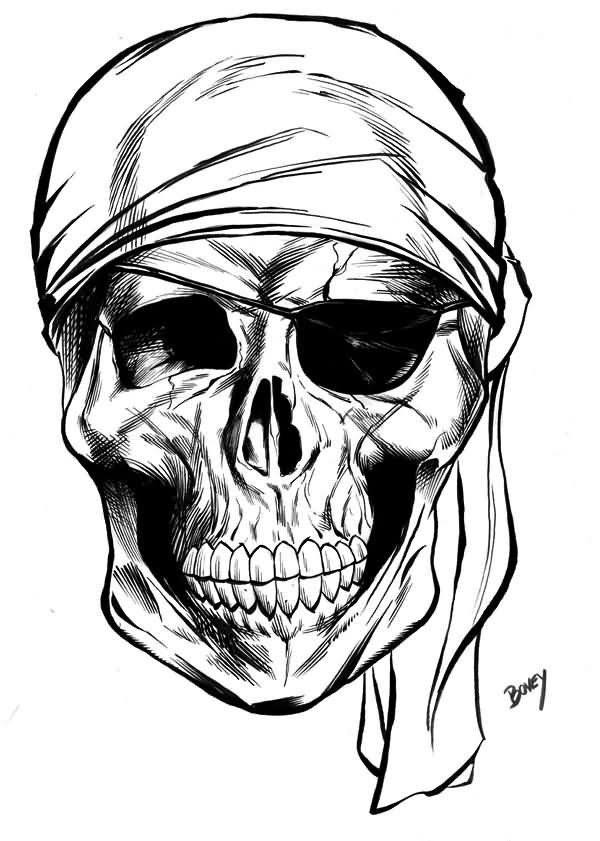 New Large Pirate Skull Tattoo Design