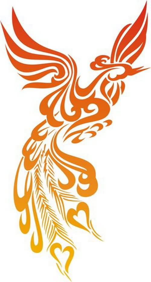 New Lovely Phoenix Tattoo Stencil