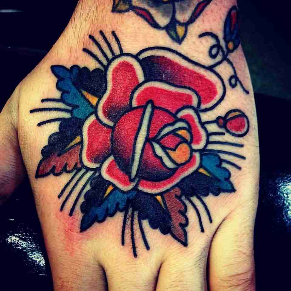 New Lovely Red Rose Tattoo On Hand