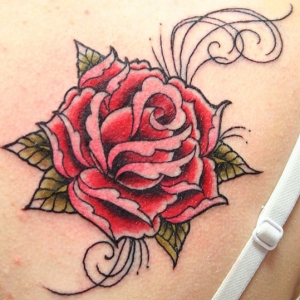 New Lovely Red Rose Tattoo