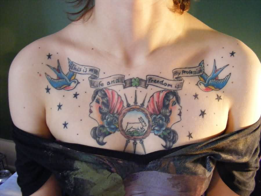 New Lovely Tattoos On Chest
