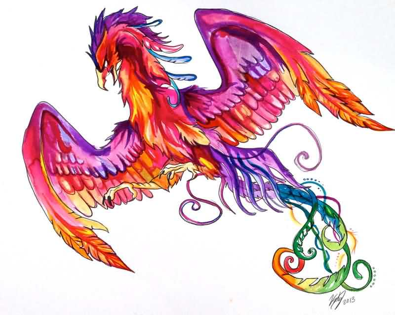 New Multi Color Phoenix Tattoo Design