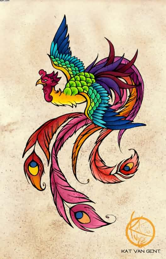 New Multi Color Phoenix Tattoo Poster