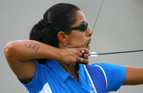 New Olympic Rings Tattoo On Arm Of Olympic Archer