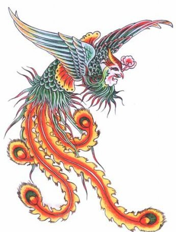 New Phoenix With Feather Tails Tattoo Design