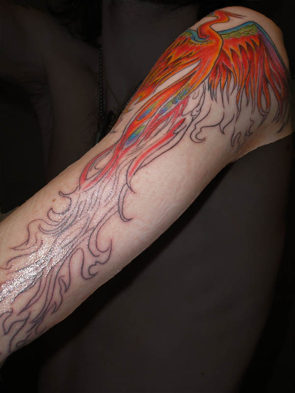 New Phoenix With Long Tail Tattoo On Arm