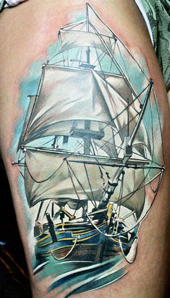 New Pirate Ship Tattoo Paint