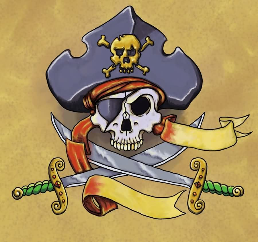 New Pirate Skull And Swords Tattoos Poster