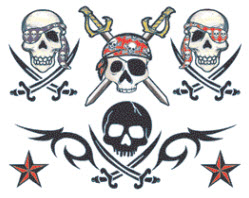 New Pirates Skulls And Nautical Stars Tattoo Design