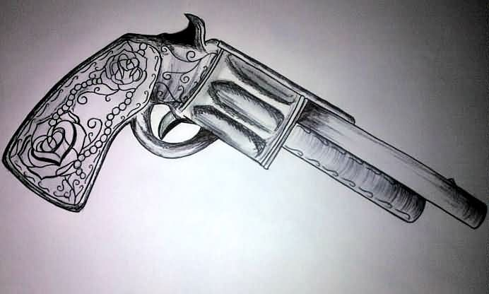 New Pistol Tattoo Sketch