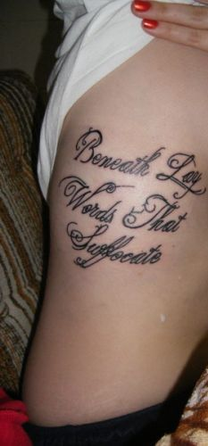 New Quote Tattoo On Rib Cage