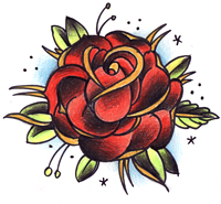 New Red Ink Rose Tattoo Design