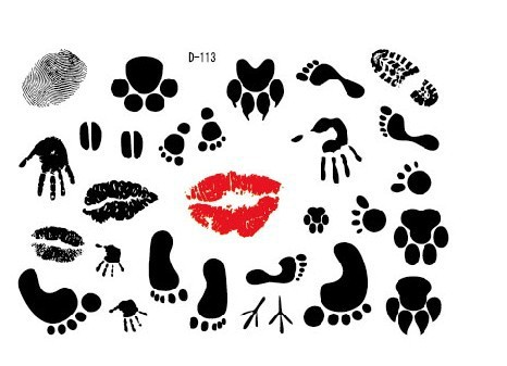 New Red Kiss Mouth And Paw Print Tattoos