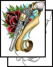 New Red Rose And Pistol Tattoo Sample