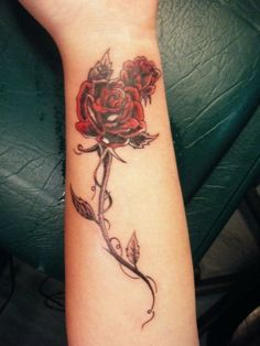 New Red Rose Tattoos On Lower Arm