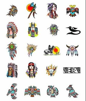 New Release Colorful Native American Tattoo Designs