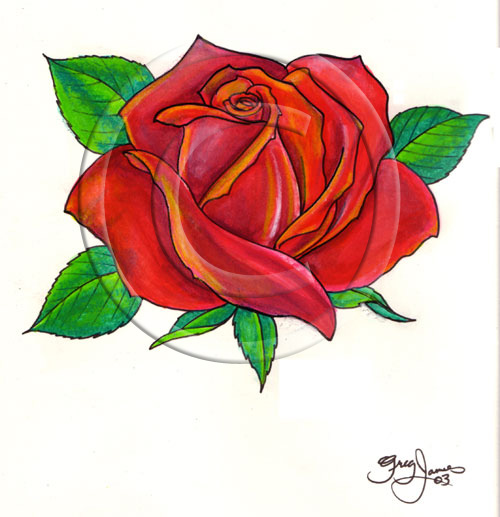 New Release Red Rose Tattoo Design