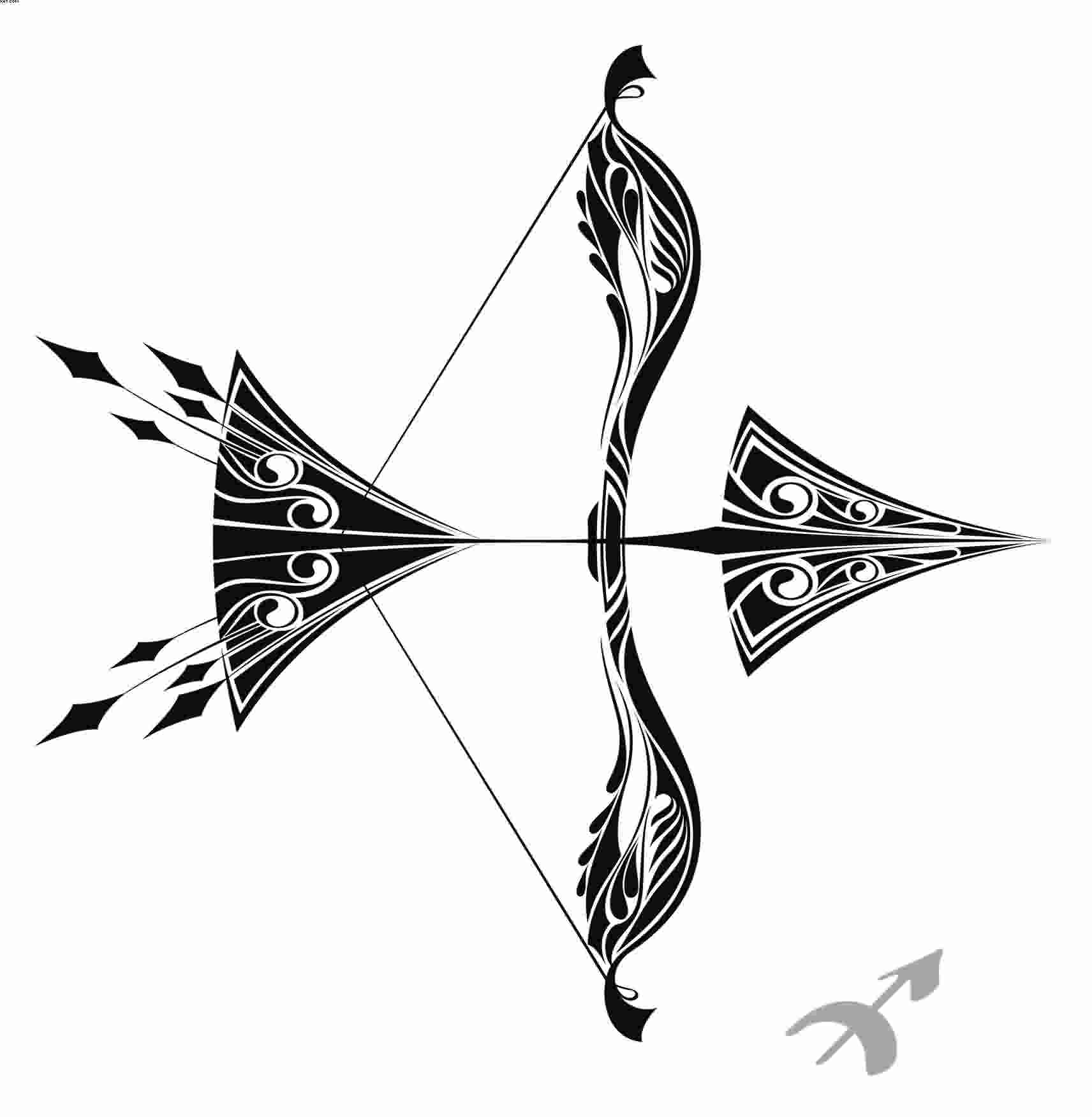 New Sagittarius Bow And Arrow Tattoo Version