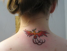 New Small Lovely Phoenix Tattoo For Girls And Women