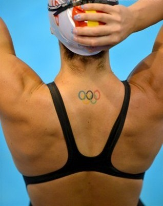 New Small Olympic Tattoo On Neck Back