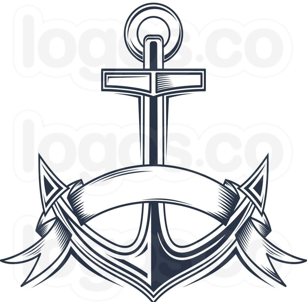 New Style Nautical Anchor And Banner Tattoo Designs