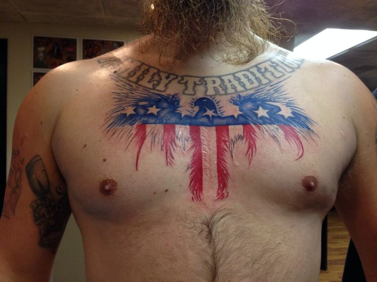 New Style Patriotic Eagle Tattoo On Chest