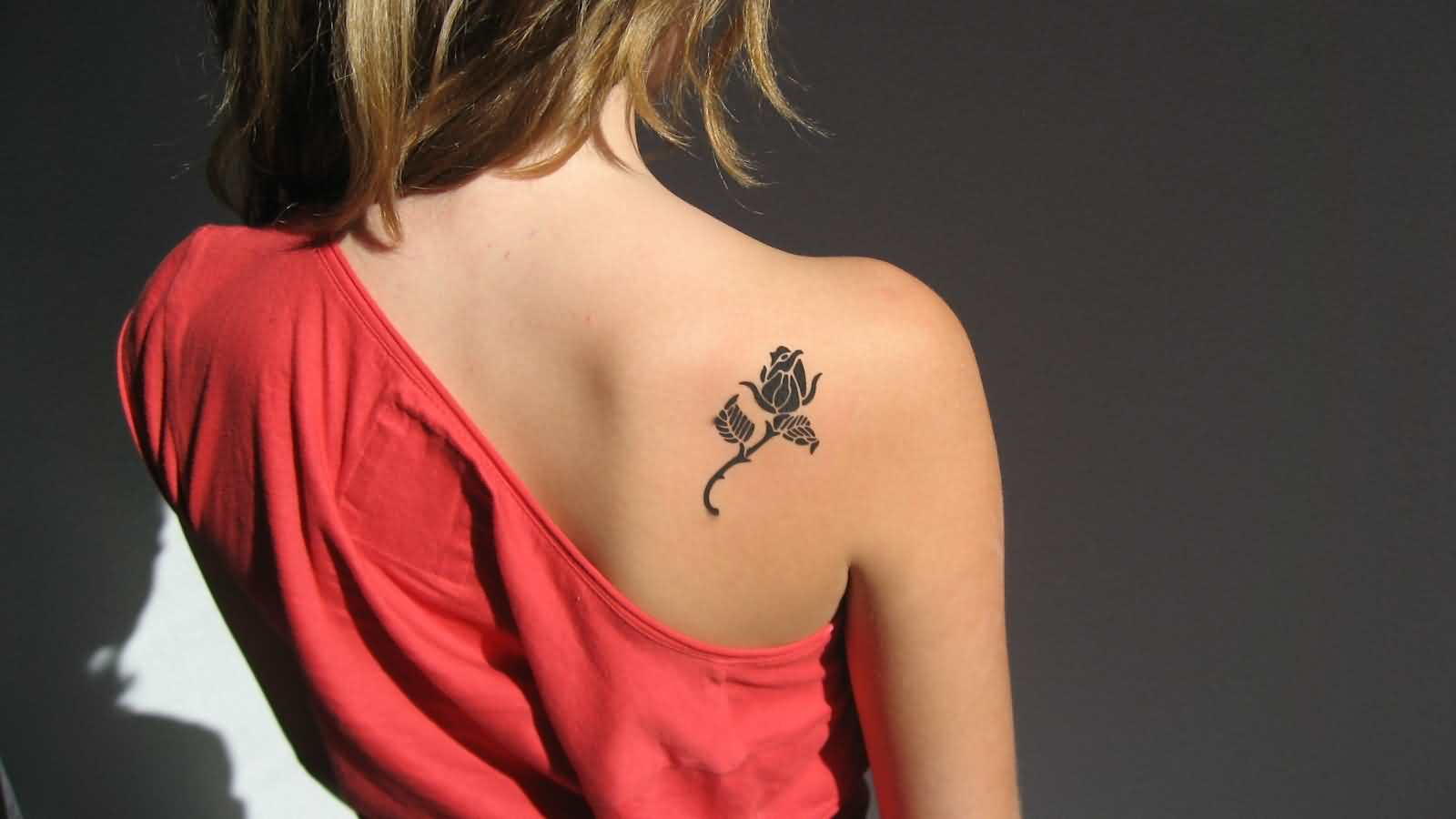 New Style Rose Tattoo Behind Shoulder