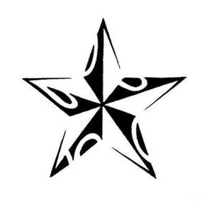 New Style Tribal Nautical Star Tattoo Stencil