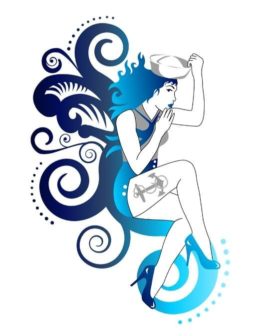 New Swirls And Pin Up Girl Tattoo Design