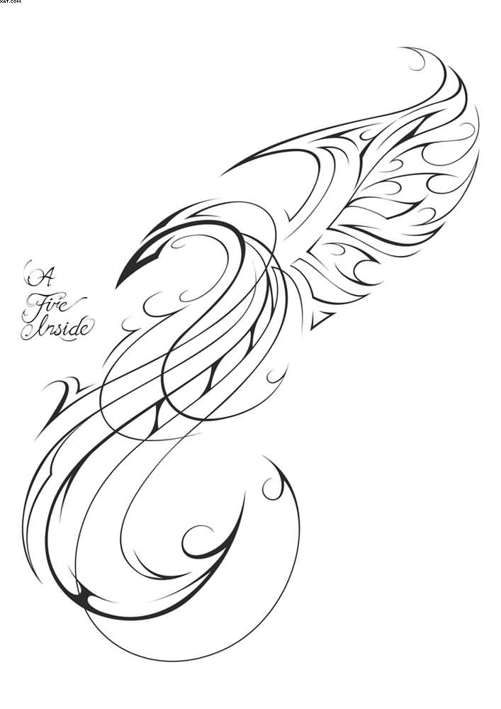 New Thin Phoenix Tattoo Stencil