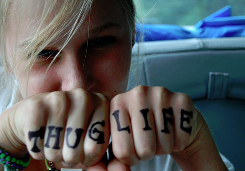 New Thug Life Knuckle Tattoo Fashion For Girls