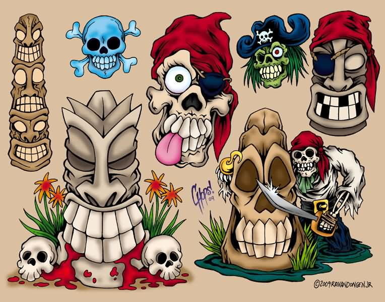 New Tiki And Pirate Skull Tattoos Flash