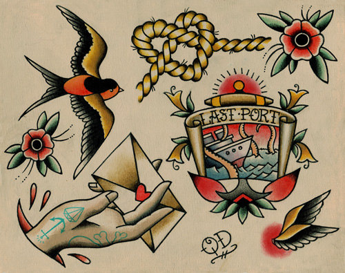 New Traditional Nautical Tattoo Flash Sheet
