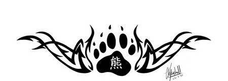 New Tribal And Bear Paw Tattoo Design For Lowerback