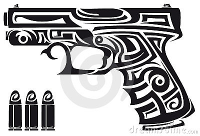 New Tribal Bullets And Pistol Tattoo Designs